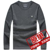 欧美高端男士双丝光棉圆领灰色长袖T恤男装体恤打底衫男潮