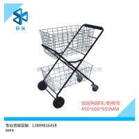 购物车厂供应双层折叠网球购物车 超市购物车 便携购物车HSX-019