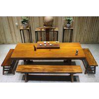 家有名木供应非洲奥坎实木大板餐桌画案会议桌办公桌原木简约家具厚重