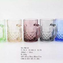 供应宏华玻璃彩色玻璃杯300ml酒杯