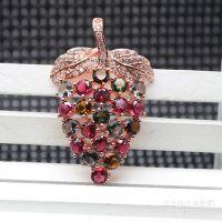 天然水晶项链饰品批发 时尚精品碧玺葡萄吊坠挂件配件特价