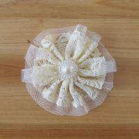 流行美水钻发饰正品 大花朵发夹 珍珠双层蕾丝花10元店货源 义乌