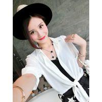小银子2015夏装新款简约系带衬衫款式雪纺薄款防晒衫女外套X5215