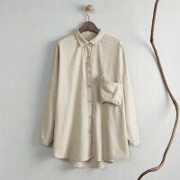 HUANG.J--RT 复古女装小翻领中长款衬衫女式秋季长袖纯色棉麻衬衣