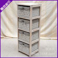 JYc057厂家供应白色田园系列风格床头柜 4抽柜子 简约实木床头柜