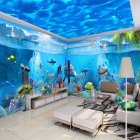 海洋餐厅背景墙壁画 儿童卧室壁纸 海底世界3D立体装饰画 游泳馆墙纸