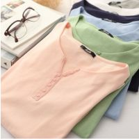 舒适多色可挑~经典色优单品 圆领开叉纽扣纯色全棉套头打底衫T恤