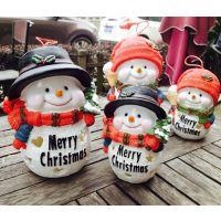 2014圣诞礼品创意雪人挂件摆件树脂储蓄罐发光场景布置厂家直销中