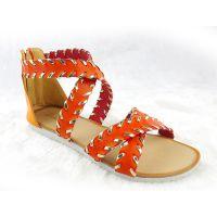 罗马鱼嘴凉鞋女新款包跟拉链大码女鞋欧美平跟编织女式凉鞋批发