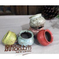 五常走泥陶艺多肉拇指花盆多器形复古釉花盆手捏系列韩国多肉盆