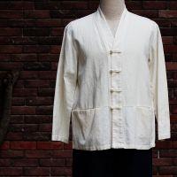 中式棉麻米白色一字扣禅修服居士服改良唐装