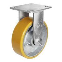 供应抗冲击6寸铁心pu固定轮 聚氨酯脚轮 固定平底PU包生铁脚轮