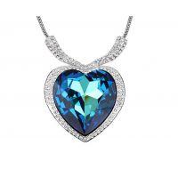 多丽觅芳 泰坦尼克号纪念 宝蓝色 满钻奢华 海洋之心 水晶项链 女