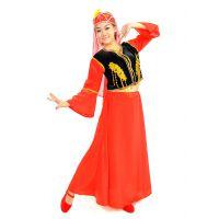 大红色女装 演出服装 新疆维吾尔族长裙 表演服饰 舞蹈服装