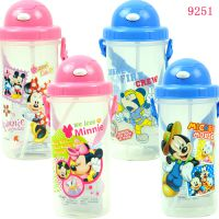 迪士尼专柜正品米妮米奇水壶儿童水壶男童女童吸管壶9251