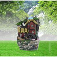厂家直销新款招财塑料工艺品 流水喷泉加湿雾化器小屋子工艺品