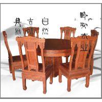 中式古典梅兰竹菊图 花梨木圆形餐桌椅 福州定制红木家具诚招加盟