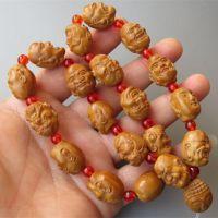 橄榄核雕刻 单面浮雕十八罗汉18罗汉 橄榄核手串手链文玩