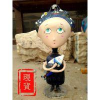 可爱的卡通人物雕塑 抱鱼的少女 玻璃钢彩色 厂家现货 木箱包装