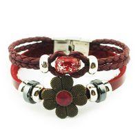 天然琉璃串珠DIY真皮手链 异域花朵手链 黑胆石编织链批发 R0002