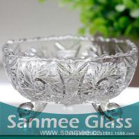 蚌埠工厂供应水晶料花纹碗 礼品专用高品质玻璃套碗 出口欧美