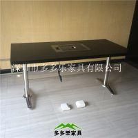 火锅烧烤一体桌烤炉桌大理石烤肉桌火锅桌