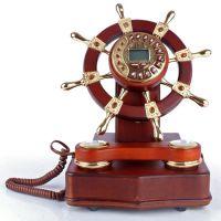 禾信领航者仿古电话机 实木舵轮古董工艺电话机 时尚创意怀旧