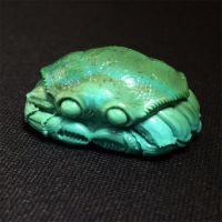 安华绿松石湖北纯天然绿松石雕件八方来财螃蟹雕件