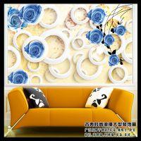 3D墙纸 艺术玫瑰 郑州壁画厂家 简约电视沙发床头背景墙 无缝墙纸