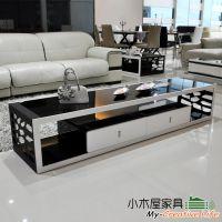 小木屋-时尚 黑白色烤漆 钢化玻璃 电视柜 现代简约 包邮