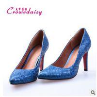 淘宝热销蓝色蛇纹高跟鞋单鞋 时尚浅口尖头真皮女鞋细跟代理加盟