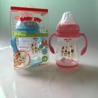 婴乐美YLM-126 批发新款弧形感温奶瓶宽口径260感温变色底 带手柄和吸管组 PP材质