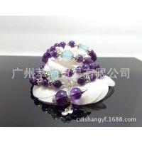 萃尚正品 天然紫晶葫芦 925银镶葫芦 6MM紫水晶手链 诚招代理