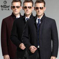 2015新款金利来男士羊绒夹克中年立领羊毛外套 高档商务品牌茄克