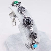 新款复古手链灯笼形状镶钻多色宝石手链 淘宝天猫速卖通货源批发