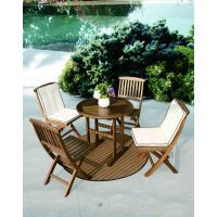 格萨实木简洁实用的别墅户外金丝柚桌椅套件一桌四椅