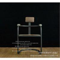 复古铁艺做旧实木办公会议椅子吧椅咖啡座餐厅吧台仿古老爷凳子