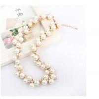 韩国拜托小姐钻石珍珠短款锁骨链时尚百搭项链层次首饰
