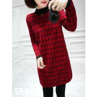 2014冬装新款韩版立领格子打底衫长袖长款冬针织衫女套头毛衣