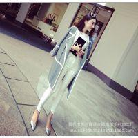 小银子2014秋装新款 欧美大牌白色镶边气质毛衣外套M85105
