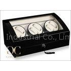 PU Leather Triple Watch Winder Battery Powered , Case For Automatic Watches