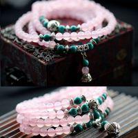 手饰天然粉玉髓 绿松石108颗 佛珠手链 女款创韩版新款时尚多层