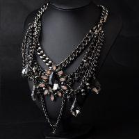 饰品批发 欧美大牌热销款速卖通 新款夸张水晶项链