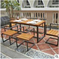欧美式复古铁艺餐桌椅组合 餐厅饭店户外酒吧实木快餐桌椅家具