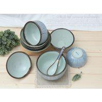 三分创意陶瓷日韩料理餐具日式简约饭碗大碗时尚色釉汤碗餐厅面碗