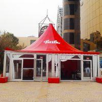 厂家提供7mx7m带PVC透明窗尖顶篷房 长沙户外活动铝合金四角帐篷定制