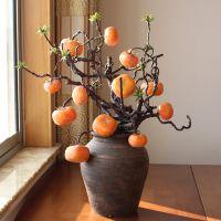仿真柿子果树枝假花花卉客厅装饰浆果家居饰品插花花艺摆件仿真花厂家塑料果实