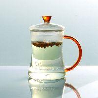 厂家直销玻璃茶杯内胆耐热玻璃杯三件式茶杯子透明过滤水杯400ML