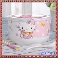 带盖小碗陶瓷保鲜碗微波炉碗儿童宝宝吃饭碗甜品碗水果沙拉碗