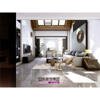 【山水装饰】滨湖假日枫丹苑240平米顶层复式后现代中式设计案例